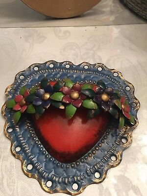 Mexican Folk Art Tin Heart  - 8'