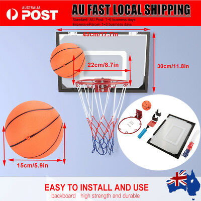 Indoor Mini Basketball Hoop Ring Backboard Kit Door Mounted Mount Kid Set AU