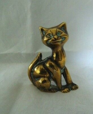 vintage solid brass stand up cat ornament