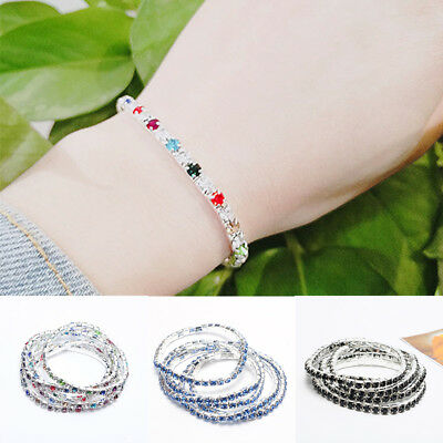 Women Fashion Rhinestone Crystal Bracelet Stretch Bangle Cuff Jewelry Bridal Gif