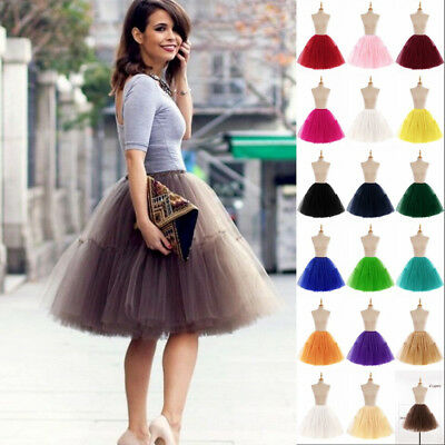 6 Layers Women Adult Tutu Tulle Skirt Petticoat Wedding Bridal Dress Ball Gown