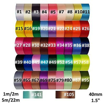 Satin Ribbon 40mm - 46 Colours - 1m / 2m / 5m / 22m - Single Faced - UK Supplier