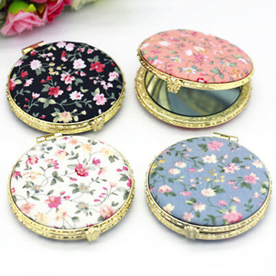 Flowers Floral Double Sided Cosmetic Make-up Handbag Pocket Compact Mirror Gift