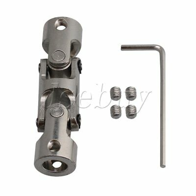Silver 8-8mm Three-section Universal Joint Coupler with Hex Wrench 57MM Length