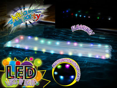 LED Light up Air Mattress Inflatable Pool Water Toy Lights Aqua Party Airtime