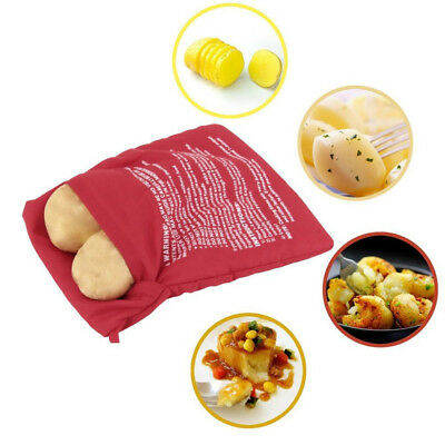 Fecihor 3 Pack of Reusable Microwave Potato Cooker Bag Perfect Potatoes Just in 4 Minutes Potato Pouch Cooker Red