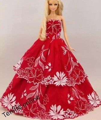 New Barbie clothes outfit princess wedding gown dress red lace and shoes x1