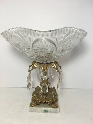 """Cut Glass Crystal Bowl Prisms Pedestal Brass Marble Base Italy 11"""""""