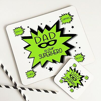 Personalised Adults Table Mat Glossy SUPERDAD Placemat & Coaster Set