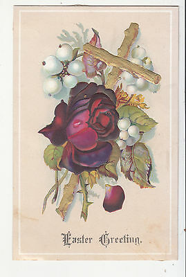 Easter Greeting Gold Cross Red Rose Embossed Vict Card c1880s