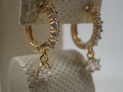 Ladies 18k Yellow gold Solid Created diamond Star Hoop Huggie Dangle Earrings