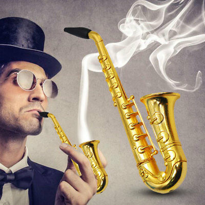 Portable Small Saxophone Smoke Smoking Pipes Metal Tobacco Weed Pipe Hookah 2018