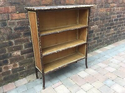 Early 20th Century Bamboo 3 Tier Bookcase Lacquered Top Thatched Weavework