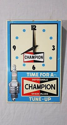 Genuine Rare Light Blue Coloured Champion Spark Plugs Clock (Time for a Tune Up)