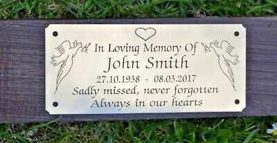 "Solid Brass Memorial Bench Plaque Grave Marker Sign 5""X2"" Personalised Engraved"