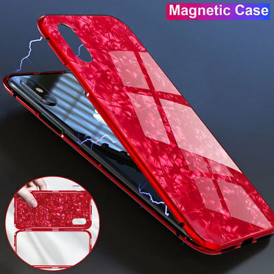 360° Magnetic Adsorption Case for iPhone X 8 Plus PC+Temper Glass Full Cover Lot