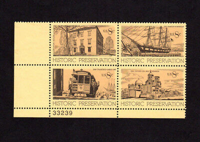 SCOTT # 1440-1443 Historic Preservation Issue U.S. Stamps MNH - Plate Block of 4