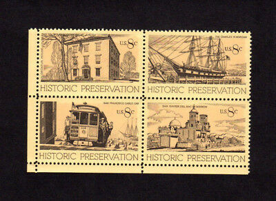 SCOTT # 1440-1443 Historic Preservation Issue U.S. Stamps MNH Margin Block of 4