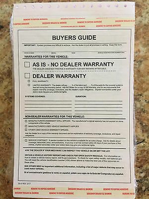 Federal Buyers Guides, As Is No Warranty Form, Auto Dealer Supplies, 2 part form