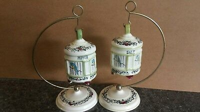 Vintage RARE Japan Hanging Birds In Cages 4pc. Salt and Pepper Shakers Read