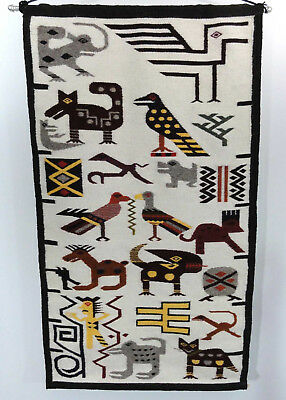 "Vtg Wool Wall Hanging Tapestry Rug Decor Animals Birds People Ecuador? 24""x42"""