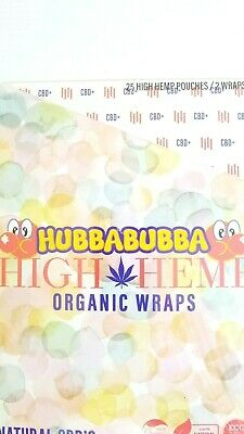 High Hemp HUBBABUBBA Organic Wraps Vegan 25 Pouches 50 Wraps Total (FULL BOX