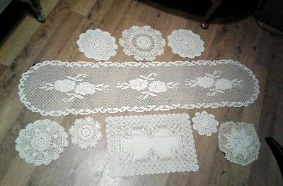 Vintage Crochet Doily table runner place mat round matching set white lot of 9