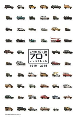 Official Land Rover Merchandise 70th Jubilee 1948-2018 Poster