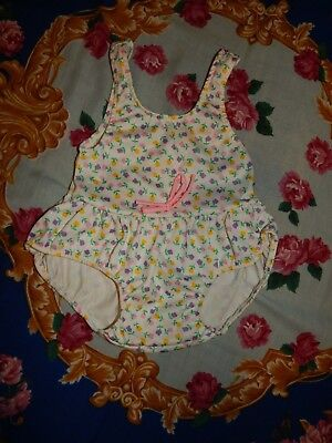 Vintage Sears Infant Small One Pc Floral Swimsuit Made In USA