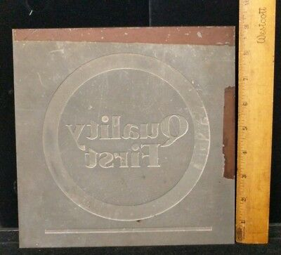 Antique Vintage Large Unusual Metal Alloy Printing Plate Quality First A5-1