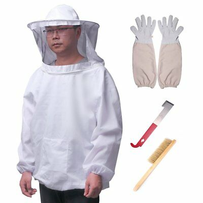 Apiculture Voile Veste Anti Abeille Costume Protection + Brush + Hook Hive +Gant