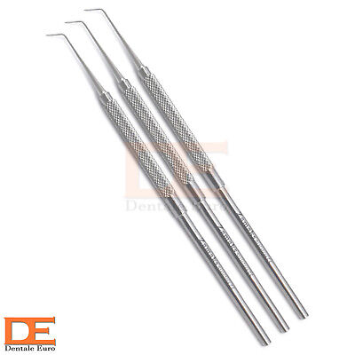 Set Of 3 Dental Explorer Plaque Remover Surgery Dentist Teeth Care Probes Tools