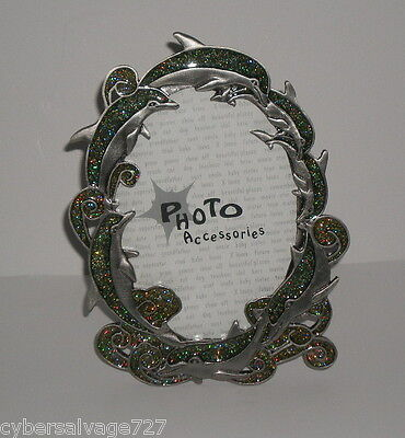 """Beautiful Dolphin Theme 3.5"""" x 5"""" Photo Picture Frame - Pewter & Glass w/ Bling"""
