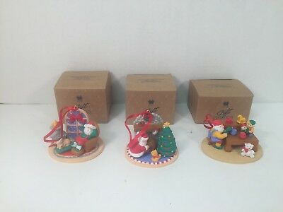 Avon Ornaments Christmas with Santa Delivering Gifts Taking Nap Workshop Lot 3