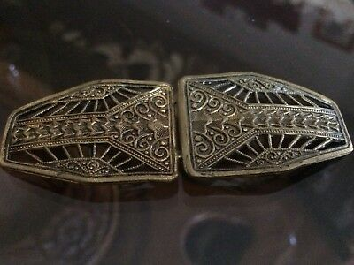 1920s Belt Buckle Ladies Ornate Brass Scroll Work Made In Germany