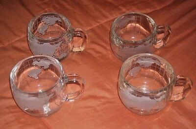 4 Vintage Nestle Nescafe Frosted Globe Etched Mugs Hot Chocolate, Coffee