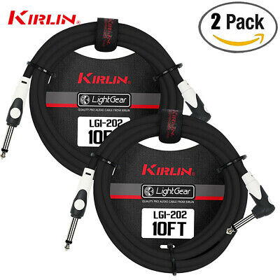 2 PACK KIRLIN Cable LGI-202-10/BK 10-Feet Straight to Right Angle 1/4-Inch Plug