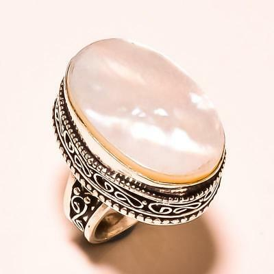 """Mother Of Pearl Oval Gemstone Vintage Style Handmade Ring """"8"""""""