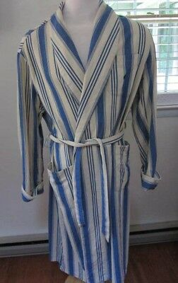 POLO by RALPH LAUREN Vintage XL  Men's Cotton  Blue Striped Belted Long Robe
