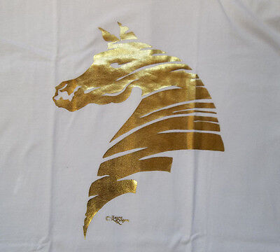 "Gold Foil Horse Silhouette T-shirt  "" White "" Large ( 42 ~ 44 )"