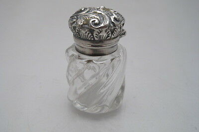 Antique Silver Top Glass  Small Scent Bottle Charles May 1893