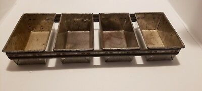 Heavy Duty Commercial Bread Loaves 4 Pans Set Strapped Steel Baking Pans 4 Loave