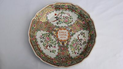 Antique Chinese Export Porcelain Emily Canton 1879 Charger Platter #9