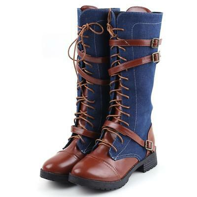 BS Fashion Lady Casual Knight Warm Lace Up Punk Martin Over Knee Boots Shoes