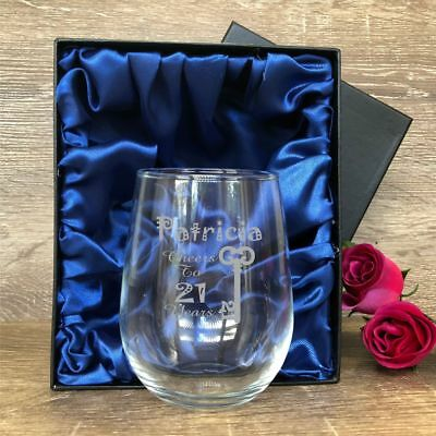 Personalised Engraved 500ml Stemless Wine Glass Birthday Gift 21st 30th 40th 50t