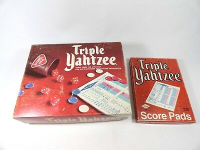 Triple Yahtzee 928 Dice Game E.S. Lowe 1975 + E4100 Box 80 Score Pads