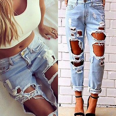 Women Ripped Hole Jeans Ladies Denim Pant Slim Stretch Fitted Destroyed Trouser