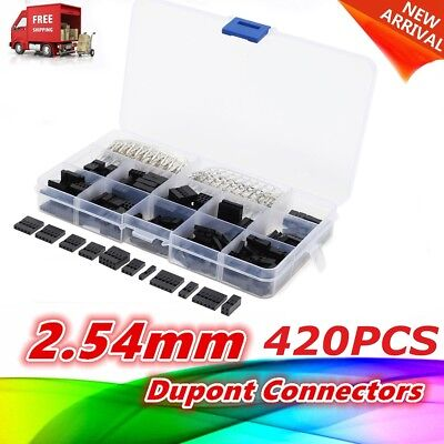 420pcs 2.54mm Dupont Wire Jumper Housing Pin Header Connector Housing Kit AU