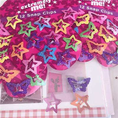 12Pcs Shiny Star Butterfly Hair Clips Snaps For Girls Baby Kids Head Accessories