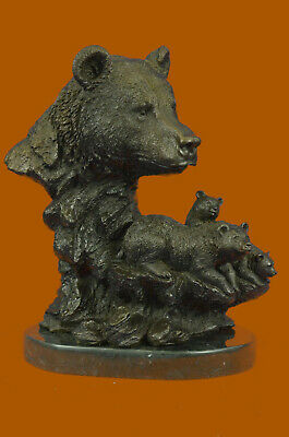 Genuine Bronze Papa Bear with His Cubs Bronze Sculpture signed by French Artist